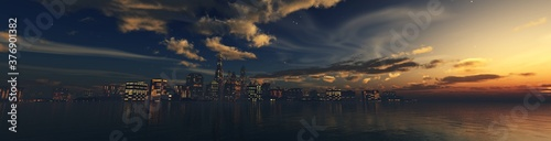 Fototapeta City in the evening at sunset over the water, 3D rendering obraz