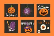 Halloween Set Of Invitation Ca...