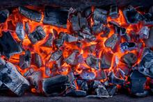 Hot, Burn, Coals, Fireplace, W...