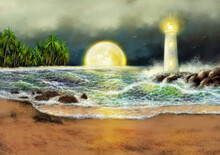 Digital Oil Paintings Sea Land...