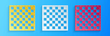 Paper Cut Chess Board Icon Isolated On Blue Background. Ancient Intellectual Board Game. Paper Art Style. Vector.