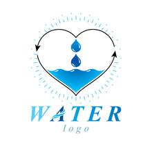 Ocean Freshness Theme Vector Logo. Save Water Advertisement. Environment Conservation Concept.