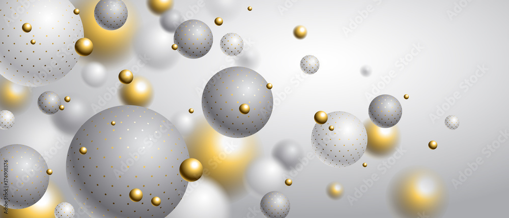 Fototapeta Realistic dotted spheres vector illustration, abstract background with beautiful balls with dots and depth of field effect, 3D globes design concept art.