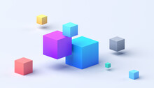 Abstract 3d Render, Geometric Composition, Colorful Background Design With Cubes