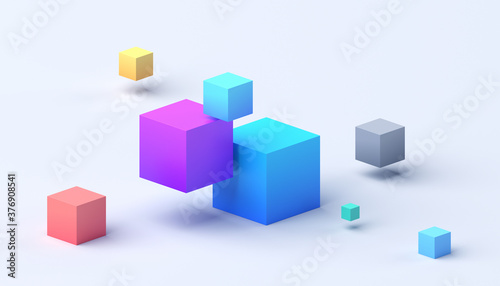 Photo Abstract 3d render, geometric composition, colorful background design with cubes