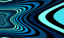 Psychedelic Blue Colored Optical Illusion Lines Vector Insane Art Background, LSD Hallucination Delirium, Surreal Op Art Linear Curves In Hyper 3D Perspective, Hypnotic Design.