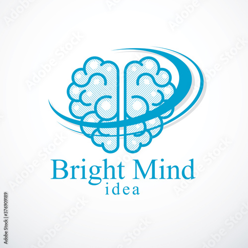 Photo Bright Mind vector logo or icon with human anatomical brain