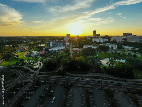 Photo Aerial photo sunset Cascades Park Downtown Tallahassee FL USA