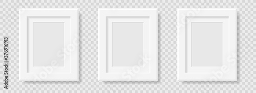 Photo Mockup realistic rectangular  picture or photo frame black color isolated on transparent background for your design