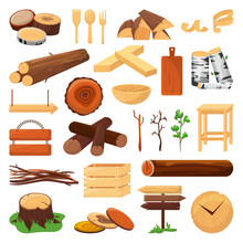 Wood Logs, Trunks And Planks Set Of Vector Ilustration. Wood Timber Materials, Wooden Cuts, Planks, Twigs And Kitchen Utencils. Firewood, Stack Of Pine. Natural Branches For Fuel, Carpentry.