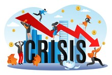 World Financial Crisis, Economic Fall Vector Illustration. Going Down Graph Of Finance, Business Bancrupcy. Concept For Finance Failure, Economy Financed Stock. Investments Risk, Decline, Depression.