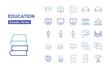 Education Thin Line Icons. Editable Stroke. Vector Illustration Flat Design.