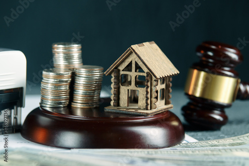 A row of coins on a small house model and a law auction hammer. Canvas Print
