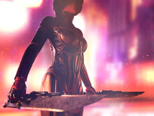 Cyborg Woman With Weapons In D...