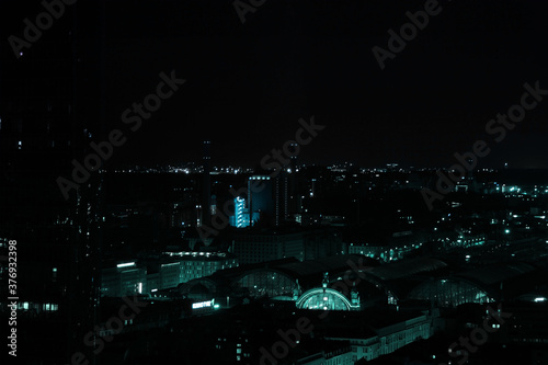 Fotomural beautiful view from a height, from the window to the night modern European city