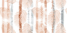 Tropical Pattern, Palm Leaves Seamless Vector Floral Background. Exotic Plant On Pastel Stripes Print Illustration. Summer Nature Jungle Print. Leaves Of Palm Tree On Paint Lines. Ink Brush Strokes