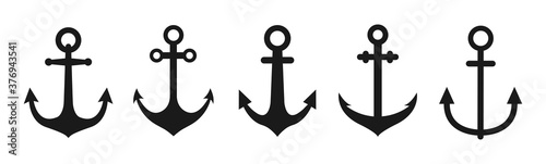 Photo Set of anchor icon vector illustration