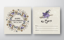 Halloween Abstract Vector Greeting Gift Card Background Template. Back And Front Design Layout With Typography. Soft Shadows And Sketch Pumpkins, Sculls And Witch On A Broom Illustrations Frame.