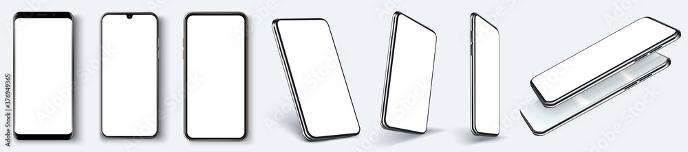 Fototapeta Cellphone frame with blank display isolated templates, phone different angles views. Mockup smartphone device collection with thin frame and blank screen isolated. Vector template app or ux design.