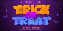 Trick Or Treat Text,  Halloween Style Editable Text Effect On Purple Textured Background