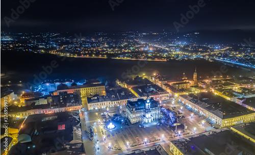 Obraz na plátne Nowy Sącz, centrum miasta wieczorową pora