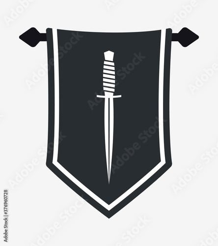 Photo Dagger Silhouette on Hanging Wall Pennant