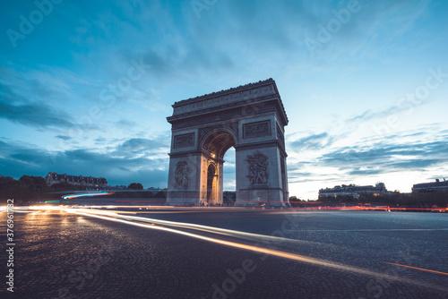Fotografie, Obraz Arc de Triumph at evening, Paris, France