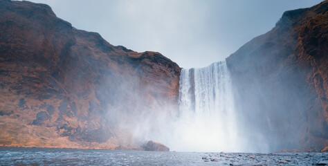 Skogafoss waterfall, autumn time, Iceland