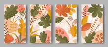 Set Of Vertical Backgrounds With Leaves Ornament