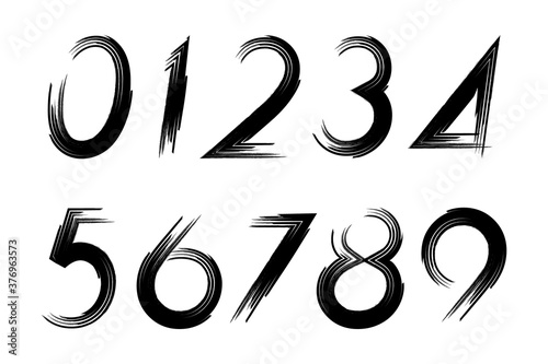 Valokuvatapetti Set of grunge numbers isolated on a white background.