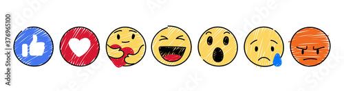 Obraz na plátne Set of Yellow Emoticon and Emoji Smileys, hand drawn art design in marker style