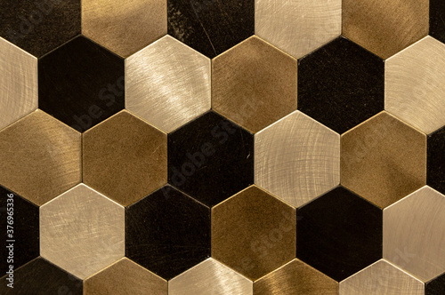 Golden hexagon cell tiling on the luxury decoration interior Gold metal honeycom Canvas Print