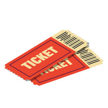 Tickets With Bar Code To Cinema, Theatre, Circus, Festival, Party Retro Realistic Style.