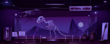 Historical Museum With Dinosaur Skeleton And Archeological Exhibits At Night. Vector Cartoon Interior Of Empty Dark Room Of Exhibition With Prehistoric Animals And Primitive Tools Of Caveman