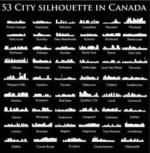 Set Of 53 City Silhouette In C...