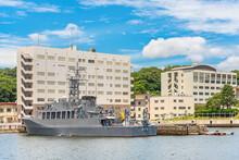 Yokosuka, Japan - July 19 2020: Minesweeper Ship JS Hirado MSO-305 Of The Japan Maritime Self-Defense Force Berthed In The Yokosuka Naval Port.