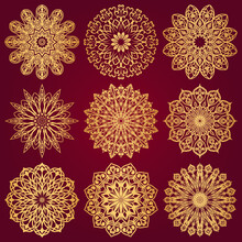 Set Of Nine Golden Mandalas On...