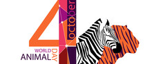 Stylized Poster Design For World Animal Day In Trendy Colors Of Autumn. Image Of A Tiger Zebra Head In Geometric Style. EPS10