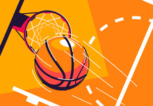 Vector Illustration Of A Basketball Flying Into A Basketball Hoop, Top View, With A Piece Of Marking Of The Baskotball Court