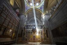 Sun Light Beam In The Church Of The Holy Sepulchre, Jeruslem, Israel