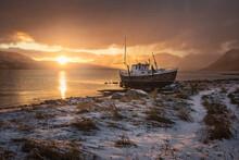 Norwegian Wooden Boat Beached ...