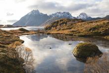 Calm Lake In Autumn In The Lof...
