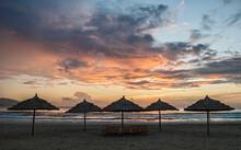 Parasol's On The Empty Beach In Da Nang