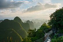 Scenic View Of Limestone Mountains Above Yangshuo