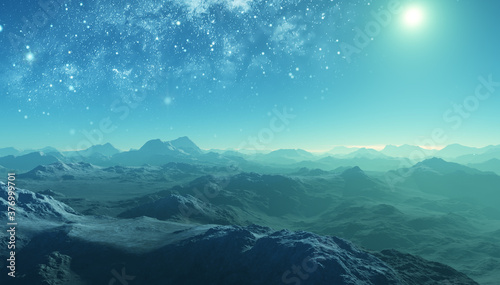 Fotografie, Obraz 3d rendered Space Art: Alien Planet - A Fantasy frozen Landscape with blue skies