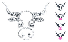 Vector Bull Head Composition Is Made From Randomized Recursive Bull Head Parts. Recursive Combination From Bull Head. Some Other Icons Are Present In This Vector.