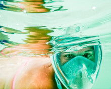 Female Snorkeler Under Water.
