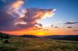 Wschód słońca w Gorcach widok z hali Turbacza na wschodząca nad Gorcem słońce