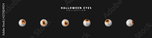 Foto Set of pupils of eyes. Halloween objects. vector illustration