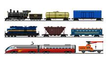 A Set Of Train Vector Illustra...